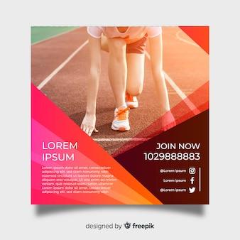Modelo de cartaz de atletismo com foto