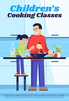 Modelo de cartaz de aula de culinária infantil. design de folheto comercial com ilustração semi plana. cartão promocional de desenho vetorial. aulas de culinária, convite publicitário para master class para famílias