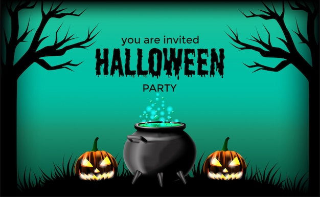 Modelo de cartaz de banner de convite de dia das bruxas