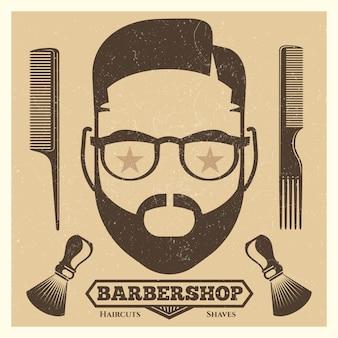 Modelo de cartaz de barbearia vintage. impressão de moda hipster