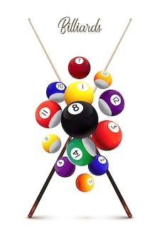 Modelo de cartaz de bilhar, diferentes bolas de bilhar caindo e dois tacos cruzados sobre fundo branco.