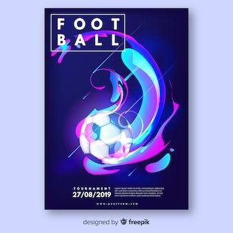 Modelo de cartaz de bola de futebol realista