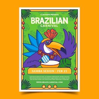 Modelo de cartaz de carnaval brasileiro desenhado à mão