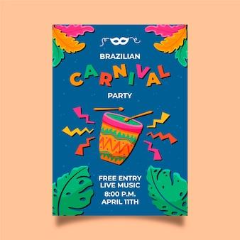 Modelo de cartaz de carnaval brasileiro desenhado de mão