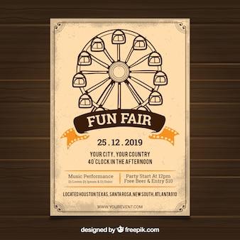 Modelo de cartaz de carnaval com roda gigante