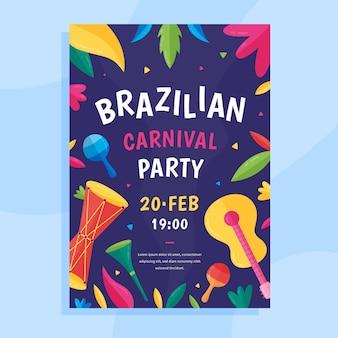 Modelo de cartaz de carnoval brasileiro de design plano