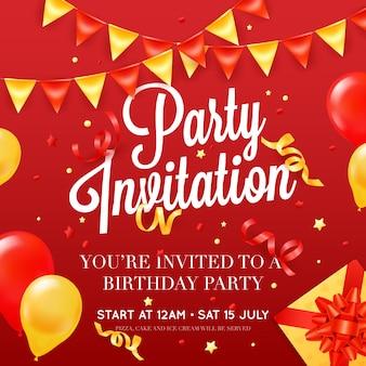 Modelo de cartaz de cartão de convite de festa de aniversário com decorações de balão de teto