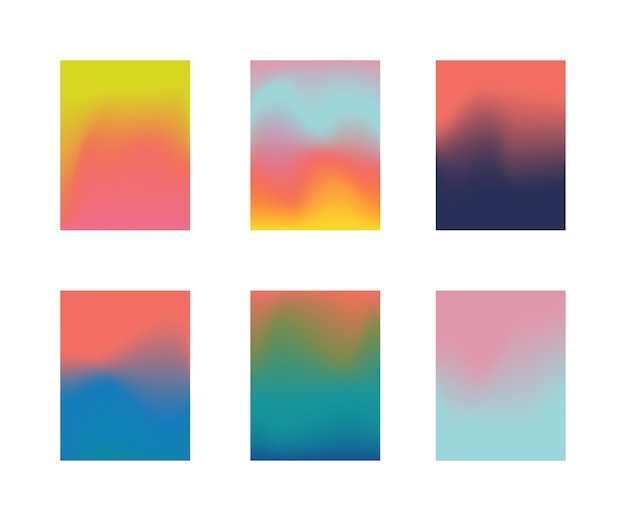 Modelo de cartaz de cartaz colorido com gradiente de malha. Vetor Premium