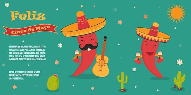 Modelo de cartaz de cinco de mayo com símbolos e caracteres mexicanos brilhantes. ilustração vetorial
