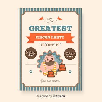 Modelo de cartaz de circo vintage