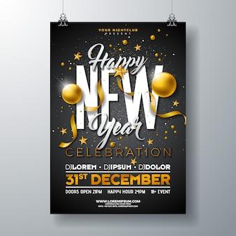 Modelo de cartaz de comemoração de festa de ano novo feliz