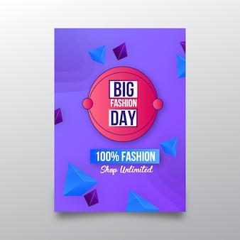 Modelo de cartaz de compras on-line de grande moda dia