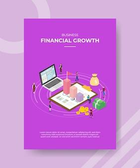 Modelo de cartaz de conceito de crescimento financeiro com ilustração vetorial de estilo isométrico