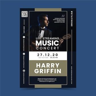 Modelo de cartaz de concerto de música de streaming ao vivo com foto