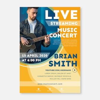 Modelo de cartaz de concerto de música de transmissão ao vivo