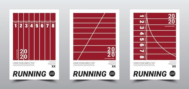 Modelo de cartaz de corrida mínima criativa