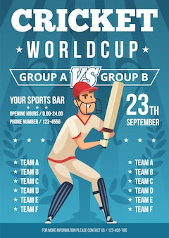 Modelo de cartaz de críquete para campeonato de críquete