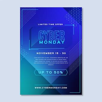 Modelo de cartaz de design plano cibernético de segunda-feira