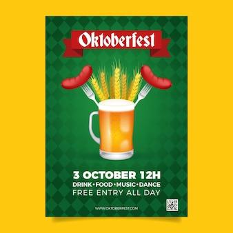Modelo de cartaz de design plano de oktoberfest