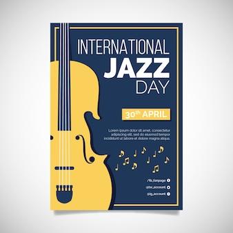 Modelo de cartaz de dia de jazz de design plano