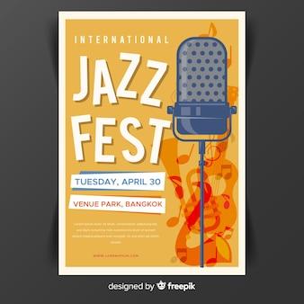 Modelo de cartaz de dia de jazz internacional plana