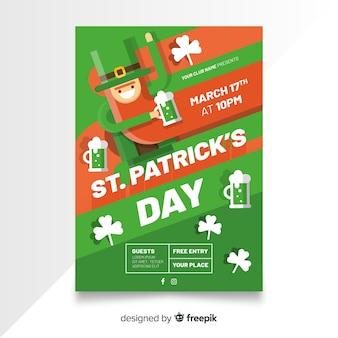Modelo de cartaz de dia de st patrick leprechaun plana