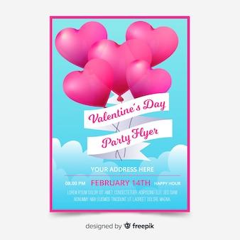 Modelo de cartaz de dia dos namorados de balões