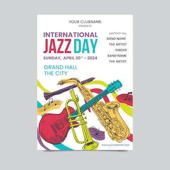 Modelo de cartaz de dia internacional de jazz mão desenhada