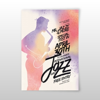 Modelo de cartaz de dia internacional do jazz em aquarela