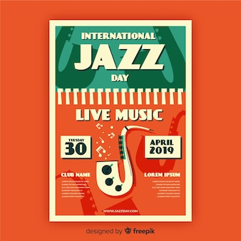 Modelo de cartaz de dia internacional do jazz vintage