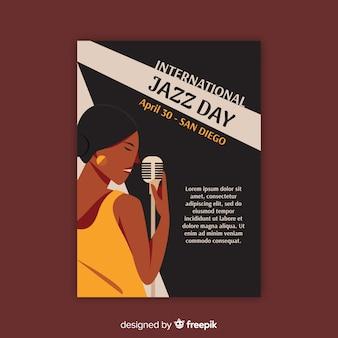 Modelo de cartaz de dia internacional do jazz vintage