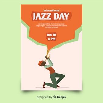Modelo de cartaz de dia internacional jazz mão desenhada
