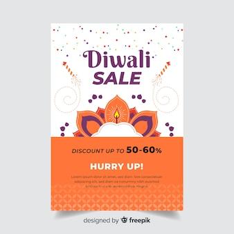 Modelo de cartaz de diwali plana e apresse-se texto