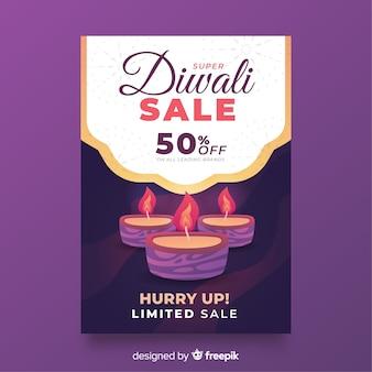 Modelo de cartaz de diwali plana e velas