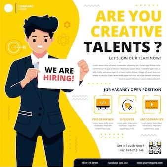 Modelo de cartaz de emprego de contratação