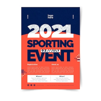 Modelo de cartaz de esporte bicolor minimalista