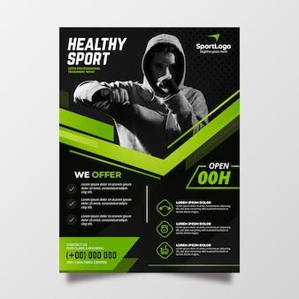 Modelo de cartaz de esporte com foto