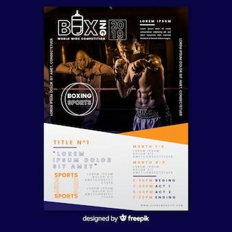 Modelo de cartaz de esporte com homem no ginásio