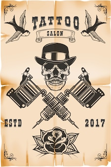 Modelo de cartaz de estúdio de tatuagem. crânio com máquinas de tatuagem cruzadas em fundo grunge. elemento para logotipo, etiqueta, emblema, sinal, cartaz. ilustração
