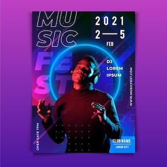 Modelo de cartaz de evento de música com imagem