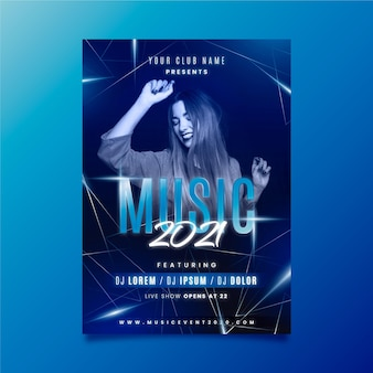 Modelo de cartaz de evento de música com mulher dança