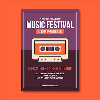 Modelo de cartaz de evento de música de fita cassete