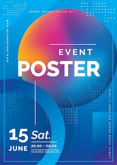 Modelo de cartaz de evento dinâmico de vetor abstrato
