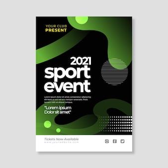 Modelo de cartaz de evento esportivo 2021 com formas diferentes