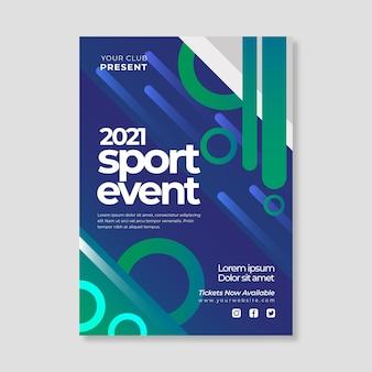 Modelo de cartaz de evento esportivo 2021 com formas geométricas