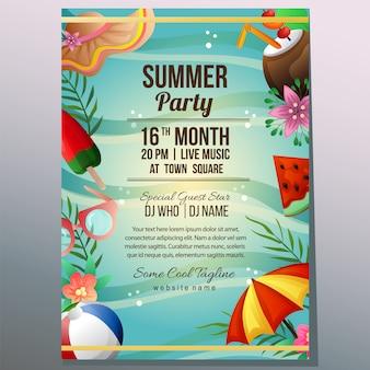 Modelo de cartaz de férias festa de verão objeto de guarda-chuva de areia de praia