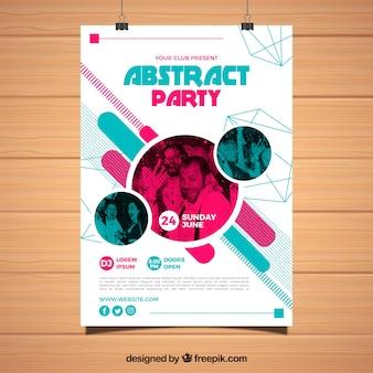 Modelo de cartaz de festa abstrata com formas geométricas