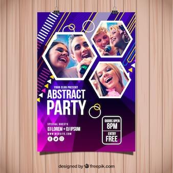 Modelo de cartaz de festa abstrata com foto