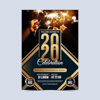 Modelo de cartaz de festa ano novo 2020 com foto
