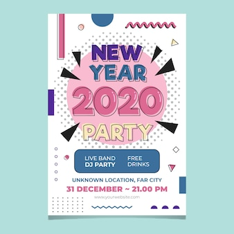 Modelo de cartaz de festa ano novo 2020 em design plano